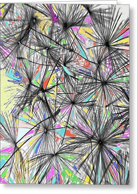 Modern Digital Art Digital Art Greeting Cards - Dandelion Seeds - Abstract Greeting Card by Marianna Mills