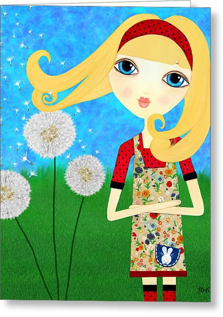 Cute Mixed Media Greeting Cards - Dandelion Wishes Greeting Card by Laura Bell