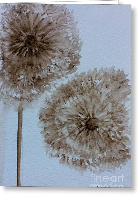Watercolors Greeting Cards - Dandelions at dusk Greeting Card by Gail Nandlal