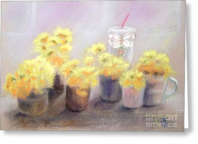 Cup Pastels Greeting Cards - Dandelions Greeting Card by Yoshiko Mishina