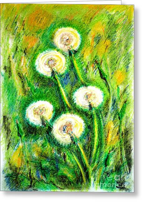 Best Selling Flower Art Greeting Cards - Dandelions Greeting Card by Zaira Dzhaubaeva