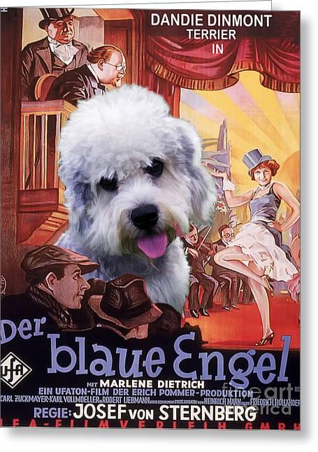 Engels Greeting Cards - Dandie Dinmont Terrier Art Canvas Print - Der Blaue Engel Movie Poster Greeting Card by Sandra Sij