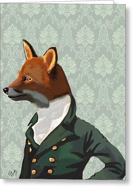 Portraits Digital Art Greeting Cards - Dandy Fox Portrait Greeting Card by Kelly McLaughlan