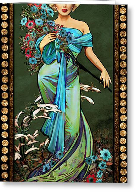 Theo Danella Greeting Cards - Danella Students 1 green Greeting Card by Theo Danella