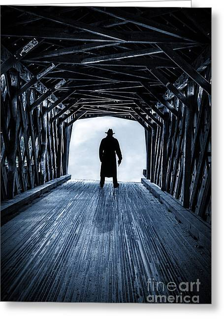 Silhouettes Greeting Cards - Danger Ahead Greeting Card by Edward Fielding