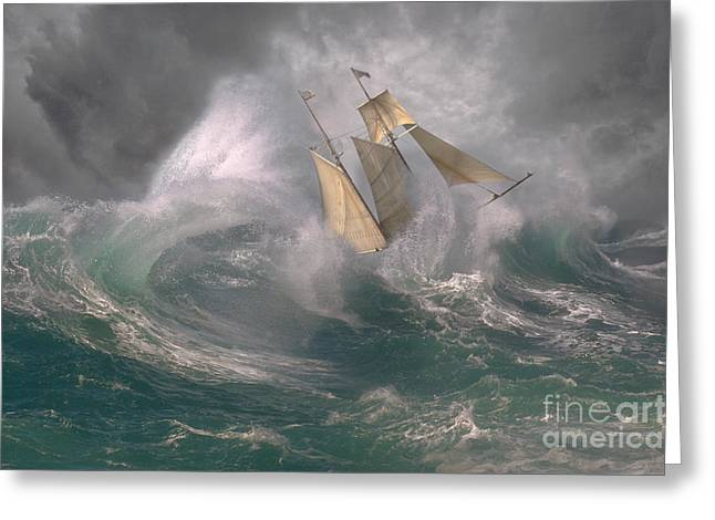 Perfect Storm Greeting Cards - Danger At Sea Greeting Card by Ron Sanford