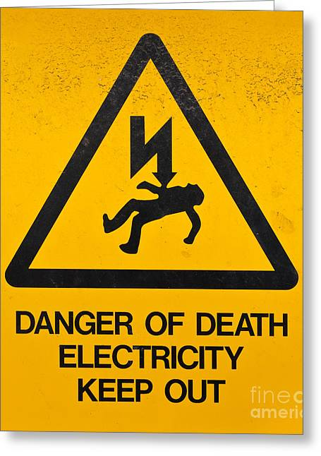 Grungy Drawings Greeting Cards - Danger Of Death - Electricity Greeting Card by Shawn Hempel