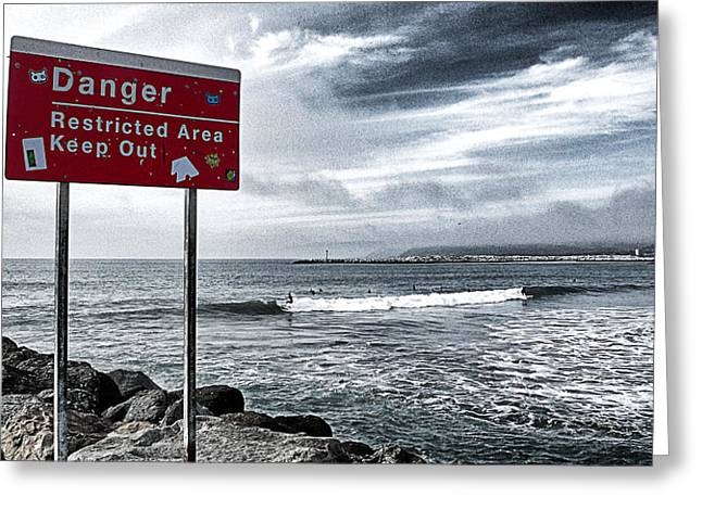 Sailboat Ocean Greeting Cards - Danger Restricted Area Keep Out Greeting Card by Ron Regalado