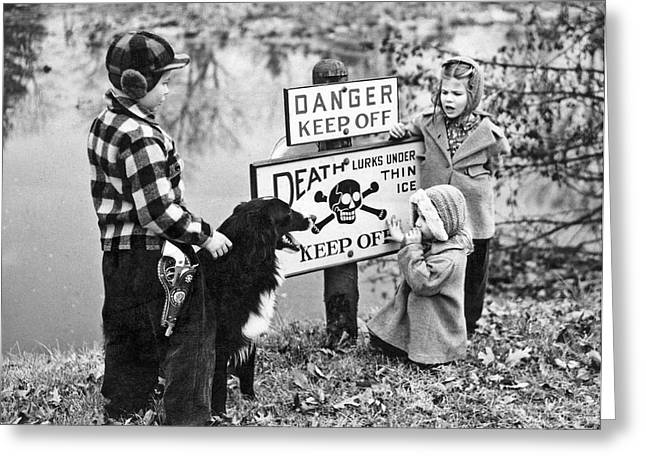 danger, Thin Ice Sign Greeting Card by Underwood Archives