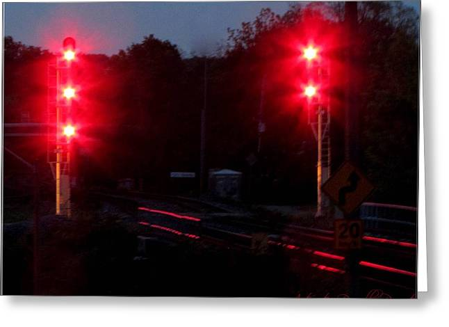 Danger Train Signals On Greeting Card by Danielle  Parent