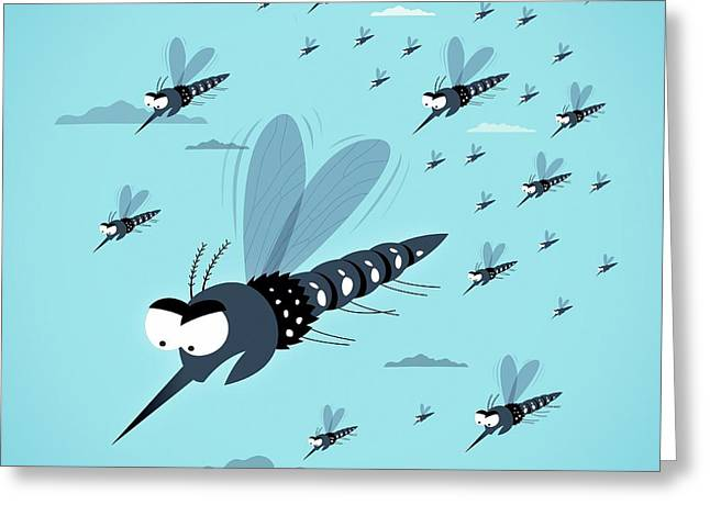 Dangerous Mosquitos Greeting Card by Mark Airs