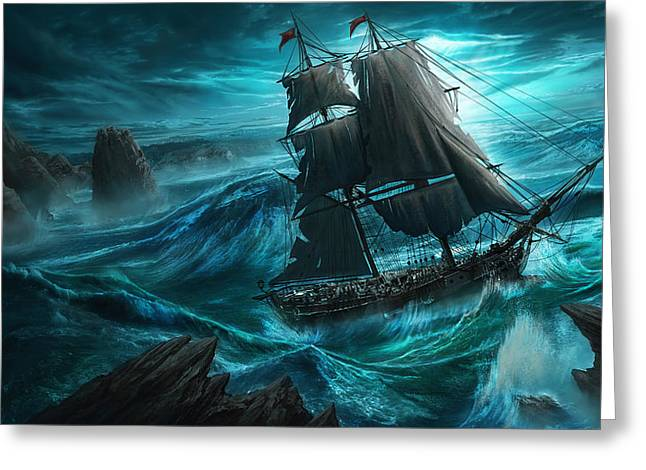 Recently Sold -  - Pirate Ships Greeting Cards - Dangerous Seas Greeting Card by Anthony Christou