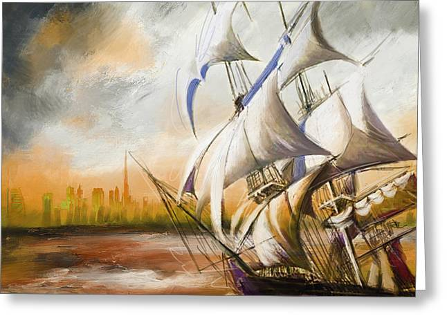 Battle Ship Greeting Cards - Dangerous Tides Greeting Card by Corporate Art Task Force