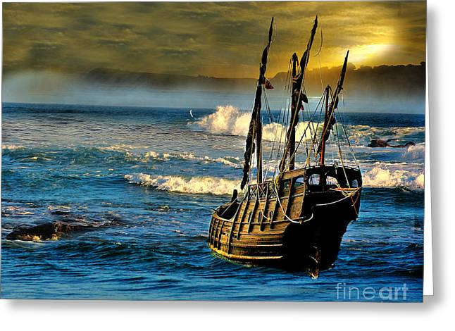 Masts Greeting Cards - Dangerous waters Greeting Card by Blair Stuart