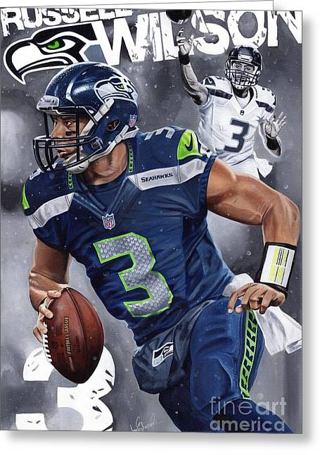 Espn Paintings Greeting Cards - DangeRuss Russell Wilson Greeting Card by Joshua Jacobs