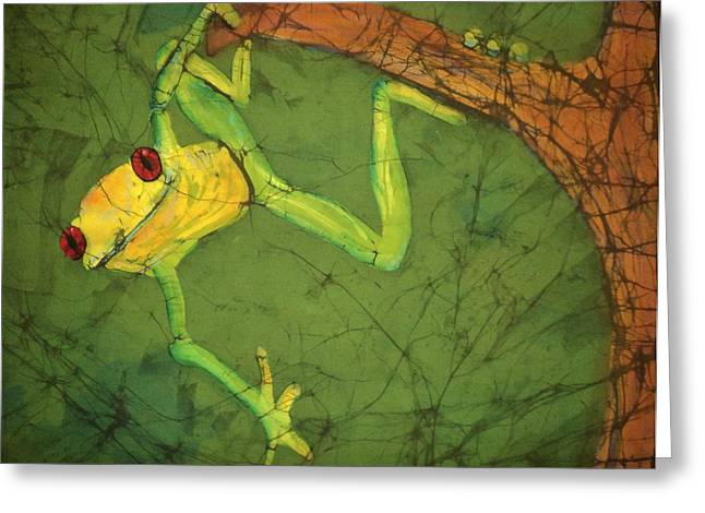 Amphibians Tapestries - Textiles Greeting Cards - Dangler Greeting Card by Kay Shaffer