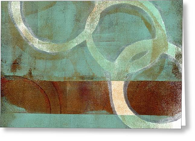 Monoprint Greeting Cards - Dangling Conversation Monoprint Greeting Card by Carol Leigh