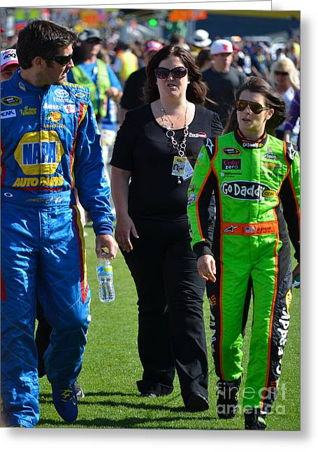 Danica Patrick Greeting Cards - Danica Patrick and Martin Truex Jr. Greeting Card by Mark Spearman