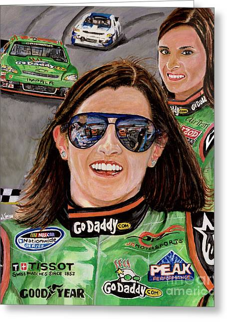 Jimmie Johnson Greeting Cards - Danica Patrick Greeting Card by Israel Torres