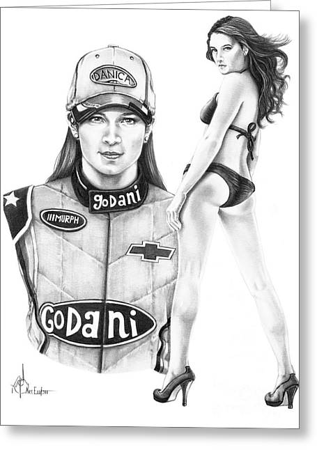 Danica Patrick Greeting Cards - Danica Patrick Greeting Card by Murphy Elliott