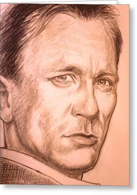 Sketchbook Digital Greeting Cards - Daniel Craig as James Bond Greeting Card by Mister Duke