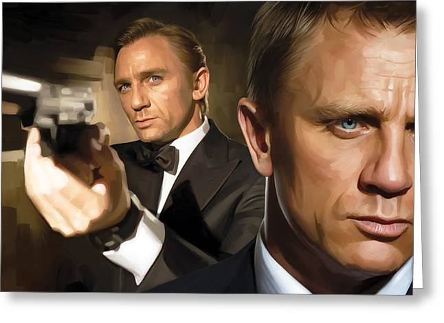 Daniel Greeting Cards - Daniel Craig - James Bond Artwork Greeting Card by Sheraz A