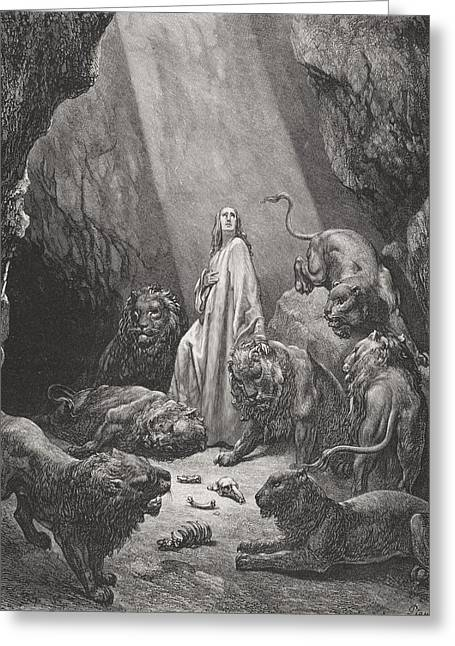 Cave Drawings Greeting Cards - Daniel in the Den of Lions Greeting Card by Gustave Dore
