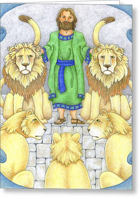 Daniel In The Lions' Den Greeting Card by Alison Stein