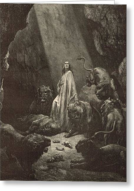 Adonai Greeting Cards - Daniel in the Lions Den Greeting Card by Antique Engravings