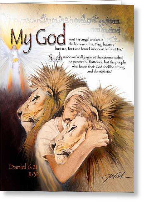 Babylon Mixed Media Greeting Cards - Daniel in the Lions Den Greeting Card by Ron Cantrell