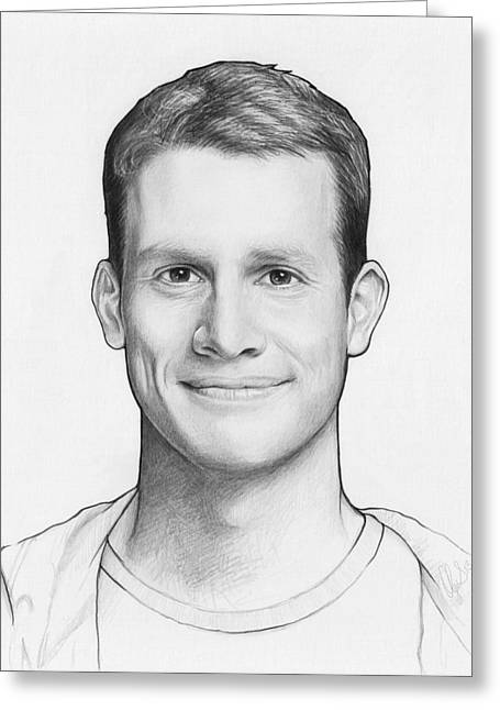 Black And White Drawing Greeting Cards - Daniel Tosh Greeting Card by Olga Shvartsur