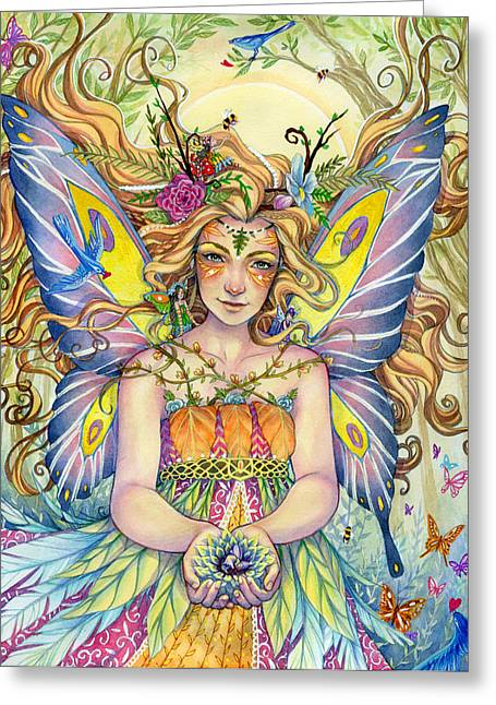 Watercolor Fairytale Greeting Cards - Danielle Greeting Card by Sara Burrier