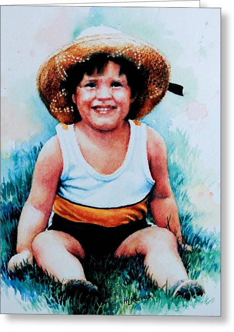 Boy Wearing A Hat Greeting Cards - Daniels Straw Hat Greeting Card by Hanne Lore Koehler