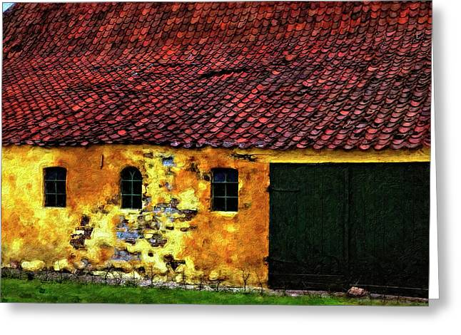 Outbuildings Greeting Cards - Danish Barn impasto version Greeting Card by Steve Harrington