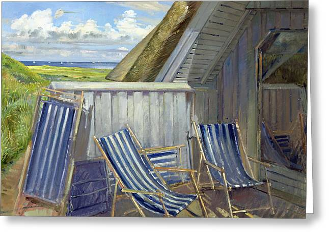 Clapboard House Greeting Cards - Danish Blue, 1999-2000 Oil On Canvas Greeting Card by Timothy Easton