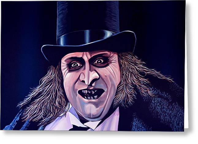 Overs Greeting Cards - Danny de Vito as the Penguin Greeting Card by Paul  Meijering