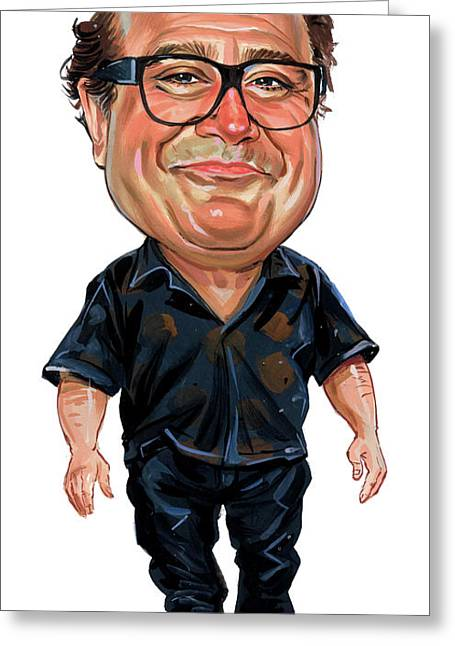 Television Paintings Greeting Cards - Danny DeVito Greeting Card by Art