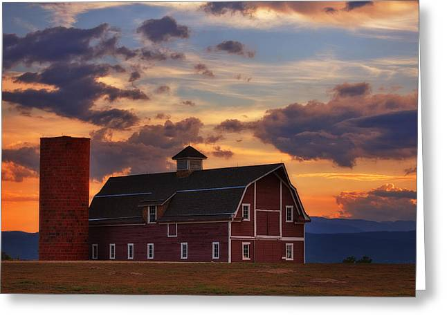 Red Barn Greeting Cards - Dannys Barn Greeting Card by Darren  White