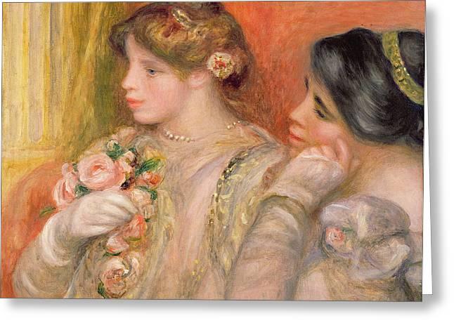 Absorb Greeting Cards - Dans La Loge, C.1908 Oil On Canvas Greeting Card by Pierre Auguste Renoir