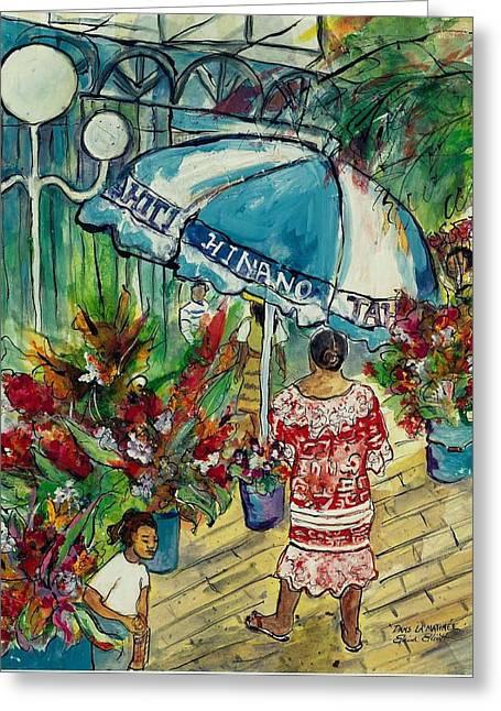 Impressionistic Market Greeting Cards - Dans la Matinee Greeting Card by Elaine Elliott