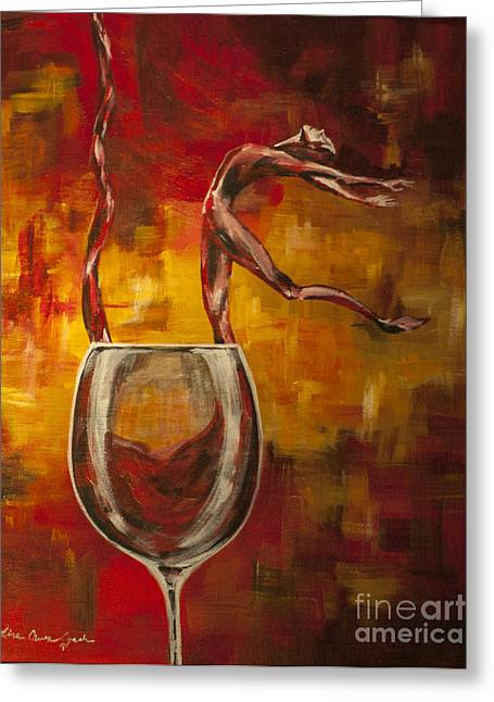 Wine Pouring Paintings Greeting Cards - Dans Le Vin Signet Greeting Card by Lisa Owen-Lynch