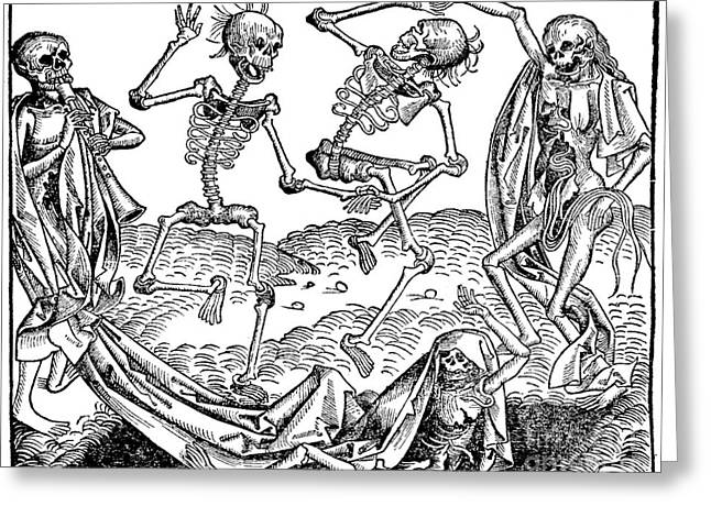 1493 Greeting Cards - Danse Macabre 1493 Greeting Card by Photo Researchers
