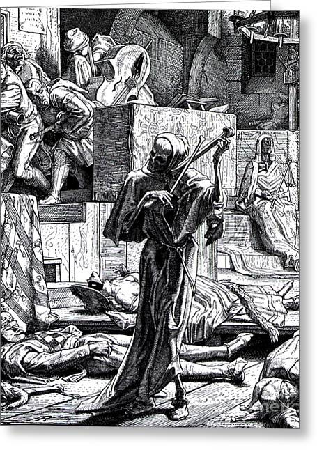 Pandemic Greeting Cards - Danse Macabre Second Cholera Pandemic Greeting Card by Science Source