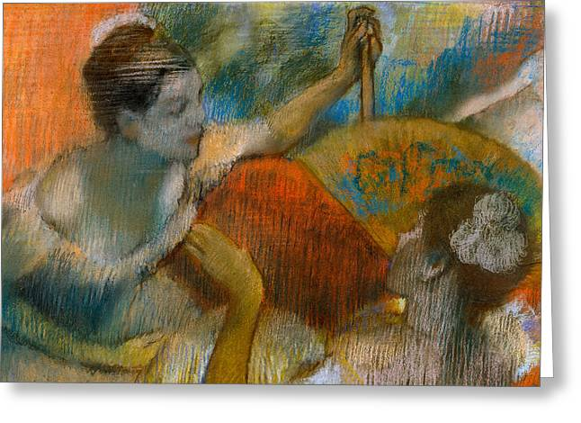 Ballet Dancers Greeting Cards - Danseuse a lEventail Greeting Card by Edgar Degas