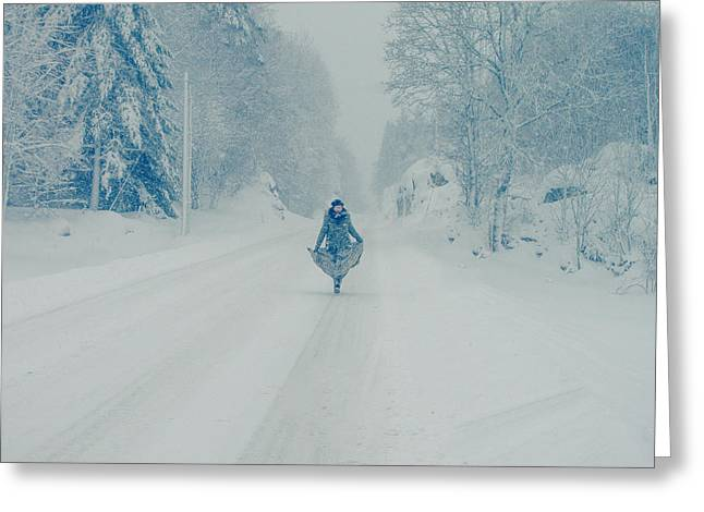 Kjg Greeting Cards - Dansing in the snow Greeting Card by Mirra Photography