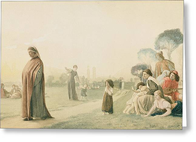 Pensive Greeting Cards - Dante 1265-1321 Meditating In The Cascine Garden, Florence Wc On Paper Greeting Card by Jean Leon Gerome