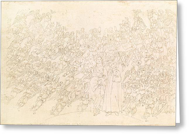 Multitude Greeting Cards - Dante And Beatrice, From Dantes Divine Comedy, C.1480 Pen & Ink On Paper Greeting Card by Sandro Botticelli