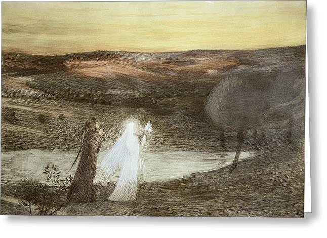 Divine Comedy Greeting Cards - Dante And Beatrice, From Lestampe Greeting Card by French School