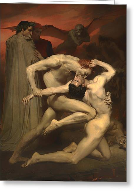 Religious Artwork Paintings Greeting Cards - Dante and Virgil Greeting Card by William-Adolphe Bouguereau