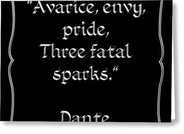 Divine Spark Greeting Cards - Dante Quote 1 Greeting Card by Rose Santuci-Sofranko